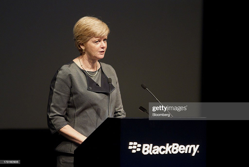 Barbara Stymiest, chairman of BlackBerry, speaks during the company's annual general meeting in Waterloo, Ontario, Canada, on Tuesday, July 9, 2013. BlackBerrys chances of becoming a viable contender to Apple Inc. and Google Inc. in the smartphone market are dimming amid lackluster demand for its flagship touch-screen device. Photographer: Pawel Dwulit/Bloomberg via Getty Images