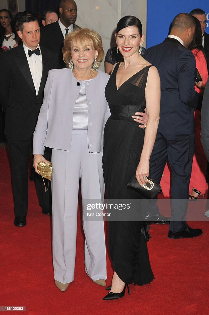 <a gi-track='captionPersonalityLinkClicked' href=/galleries/search?phrase=Barbara+Walters&family=editorial&specificpeople=201871 ng-click='$event.stopPropagation()'>Barbara Walters</a> and <a gi-track='captionPersonalityLinkClicked' href=/galleries/search?phrase=Julianna+Margulies&family=editorial&specificpeople=208994 ng-click='$event.stopPropagation()'>Julianna Margulies</a> attend the 100th Annual White House Correspondents' Association Dinner at the Washington Hilton on May 3, 2014 in Washington, DC.