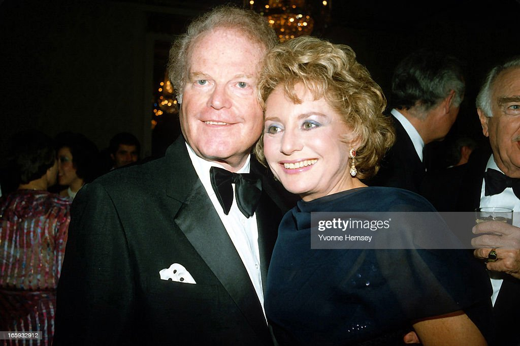 Barbara Walters and Roone Arledge pose for a photograph at Arledge's birthday celebration March 9, 1983 in New York City.