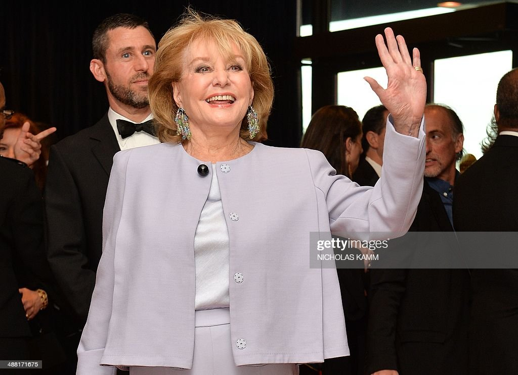 <a gi-track='captionPersonalityLinkClicked' href=/galleries/search?phrase=Barbara+Walters&family=editorial&specificpeople=201871 ng-click='$event.stopPropagation()'>Barbara Walters</a> arrives at the White House Correspondents' Association (WHCA) annual dinner in Washington on May 3, 2014. AFP PHOTO/Nicholas KAMM