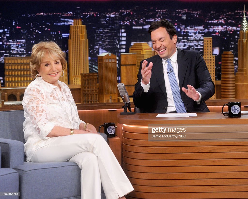 <a gi-track='captionPersonalityLinkClicked' href=/galleries/search?phrase=Barbara+Walters&family=editorial&specificpeople=201871 ng-click='$event.stopPropagation()'>Barbara Walters</a> during an interview with host Jimmy Fallon on 'The Tonight Show Starring Jimmy Fallon' at Rockefeller Center on June 11, 2014 in New York City.