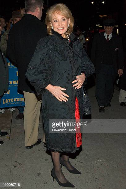 Barbara Walters during Matt Damon and Matthew Fox Sighting Outside The Late Show with David Letterman December 11 2007 at Ed Sullivan Theater in New...