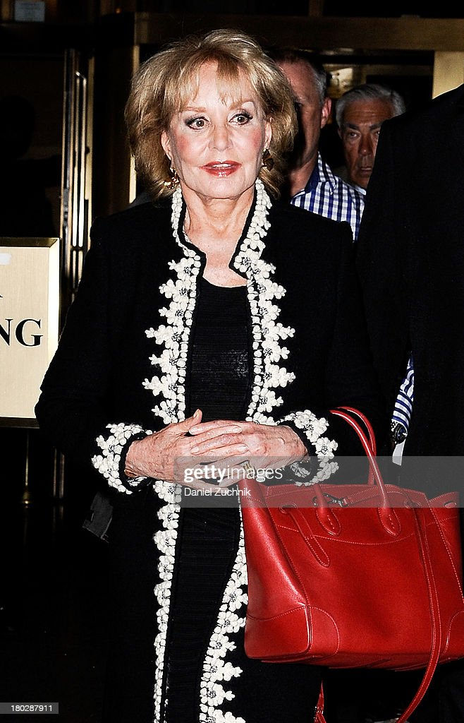 Barbara Walters is seen (Hermes tote bag) outside the Oscar de la Renta show on September 10, 2013 in New York City.