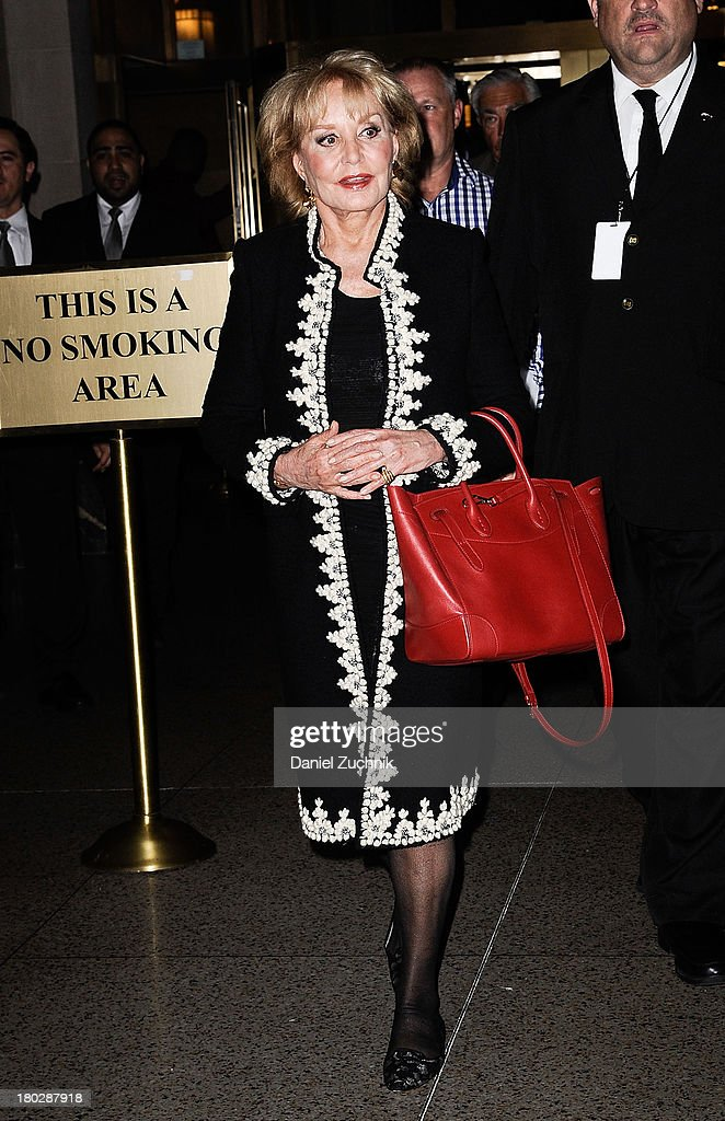 <a gi-track='captionPersonalityLinkClicked' href=/galleries/search?phrase=Barbara+Walters&family=editorial&specificpeople=201871 ng-click='$event.stopPropagation()'>Barbara Walters</a> is seen (Hermes tote bag) outside the Oscar de la Renta show on September 10, 2013 in New York City.