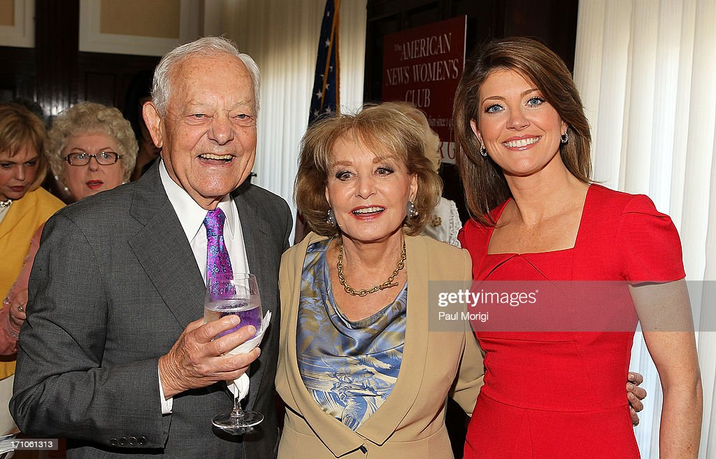 Barbara Walters (C) poses for a photo with Bob Schieffer and Norah O'Donnell at the American News Women's Club 2013 Gala Award luncheon at The National Press Club on June 21, 2013 in Washington, DC.