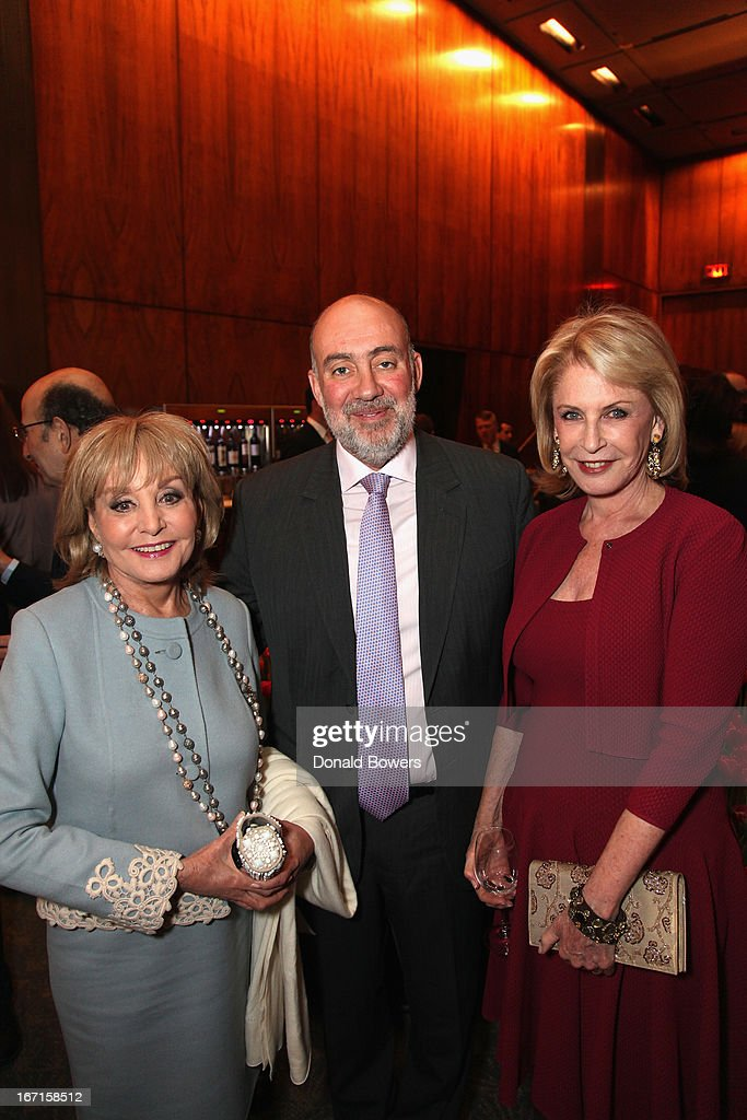 <a gi-track='captionPersonalityLinkClicked' href=/galleries/search?phrase=Barbara+Walters&family=editorial&specificpeople=201871 ng-click='$event.stopPropagation()'>Barbara Walters</a>, Ron Prosor and Lauren Veronis attend The Through The Kitchen Party Benefit For Cancer Research Institute on April 21, 2013 in New York City.