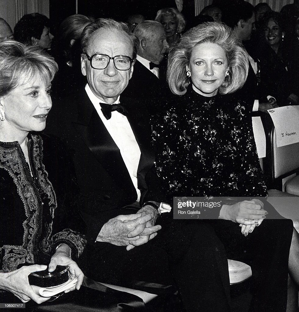 Barbara Walters, Rupert Murdoch and Anna Murdoch during 36th Annual Humanitarian Awards at Waldorf Hotel in New York City, New York, United States.