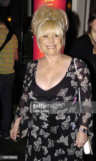 Barbara Windsor during 'Dirty Dancing' The Classic Story on Stage Arrivals at Aldwych Theatre in London Great Britain