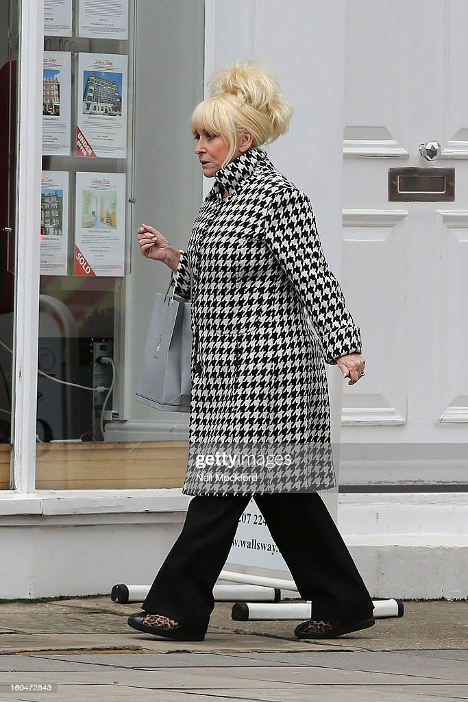 <a gi-track='captionPersonalityLinkClicked' href=/galleries/search?phrase=Barbara+Windsor&family=editorial&specificpeople=210539 ng-click='$event.stopPropagation()'>Barbara Windsor</a> seen in Marylebone on February 1, 2013 in London, England.
