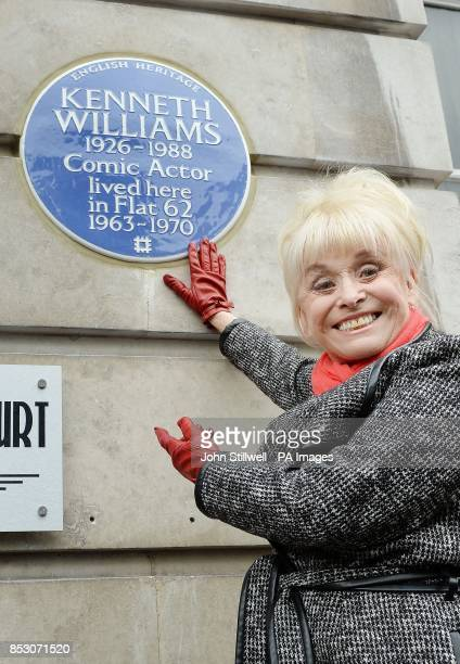 Barbara Windsor unveils a English Heritage plaque in memory of her old friend Kenneth Williams to mark what would have been his 88th birthday at his...