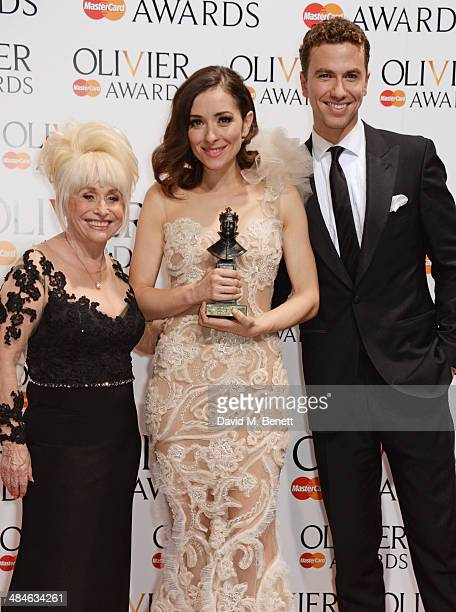 Barbara Windsor Zrinka Cvitesic winner of the Best Actress in a Musical award for 'Once' and Richard Fleeshman pose in the press room at the Laurence...