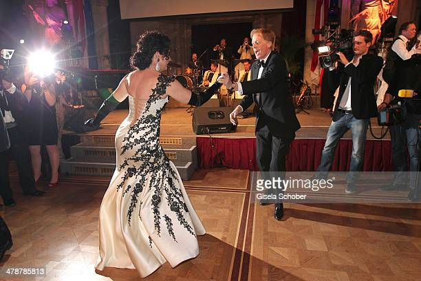 Barbara Wussow and husband Albert Fortell dance at the 5th Filmball Vienna at City Hall on March 14 2014 in Vienna Austria