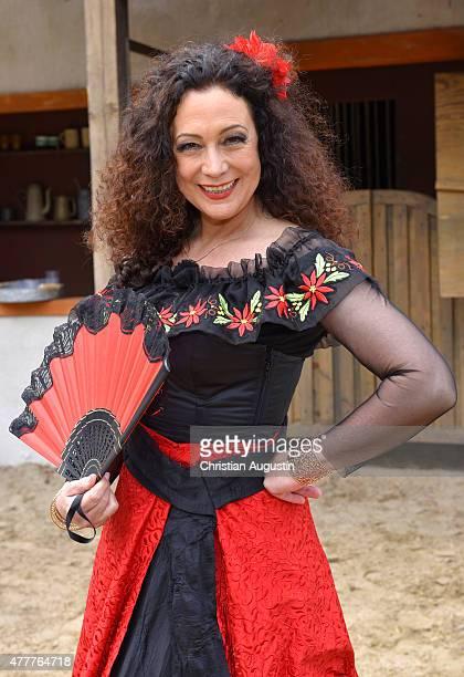 Barbara Wussow as Seniorita Miranda attends 'Im Tal des Todes' photo rehearsal of KarlMaySpiele at Open Air Theatre 'Am Kalkberg' on June 19 2015 in...