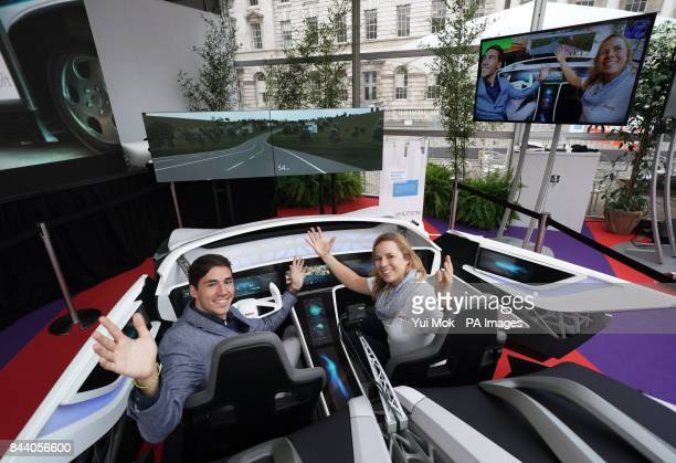 Barbara Zelemay head of Car Multimedia Marketing Communications and Bosch intern student Diego Ramos sat in the company's Connected Mobility ShowCar...