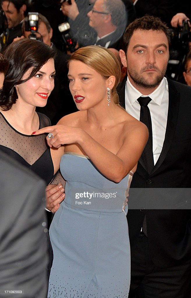Barbara Zlotowski, Lea Seydoux and Denis Menochet attend the Premiere of 'Jimmy P. (Psychotherapy Of A Plains Indian)' at Palais des Festivals during The 66th Annual Cannes Film Festival on May 18, 2013 in Cannes, France.