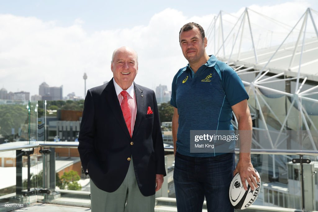 Barbarians coach Alan Jones (L) and Wallabies ciach Michael Cheika (R) pose during a Wallabies & Barbarians Media Opportunity at Sydney Cricket Ground on October 13, 2017 in Sydney, Australia.