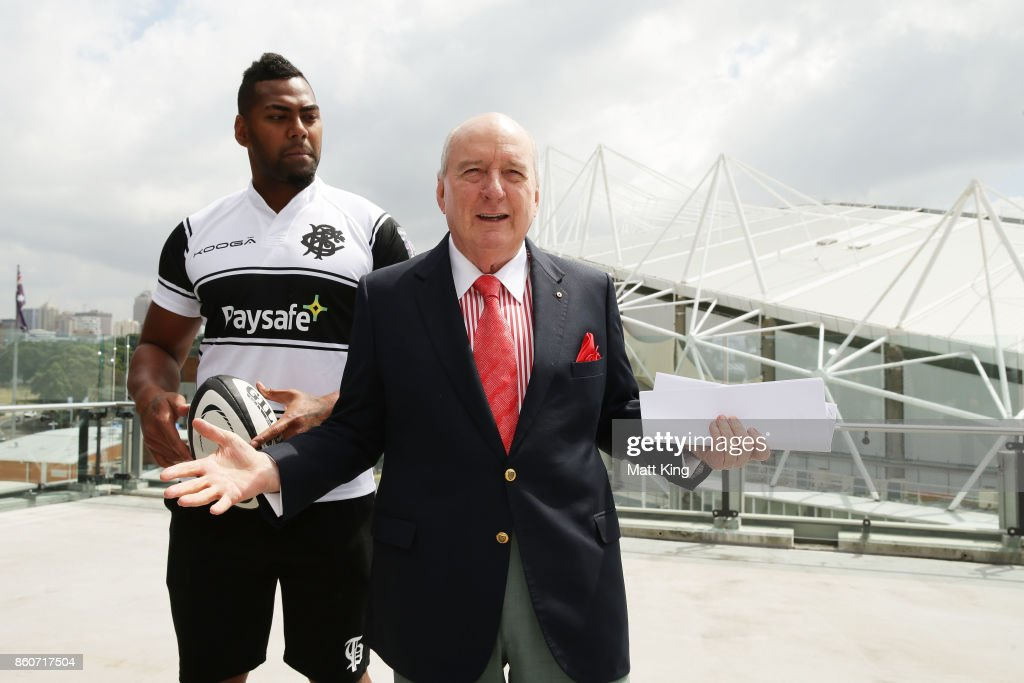 Barbarians coach Alan Jones speaks to the media as Taqele Naiyaravoro looks on during a Wallabies & Barbarians Media Opportunity at Sydney Cricket Ground on October 13, 2017 in Sydney, Australia.