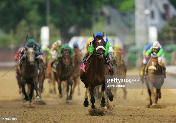 Barbaro ridden by jockey Edgar Prado crosses the finish line to win the 132nd Kentucky Derby on May 6 2006 at Churchill Downs in Louisville Kentucky