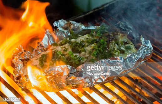 Barbecue cooking seafood. : Stock Photo