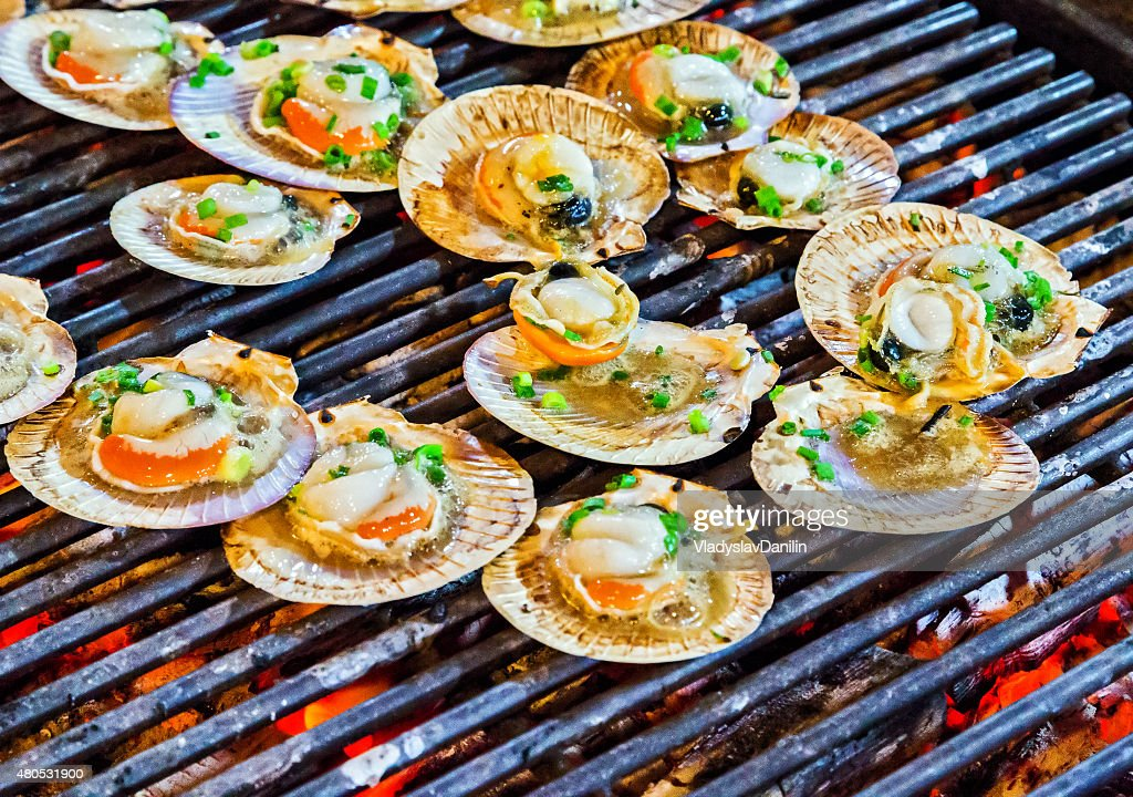 Barbecue cooking seafood. : Stockfoto