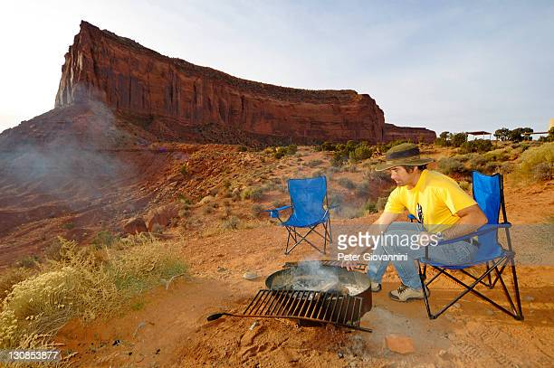 Barbecue fire in the evening at a camping site in Monument Valley, Arizona, USA
