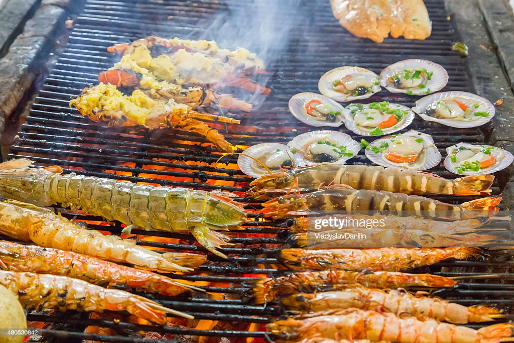 Barbecue Grill cooking shrimp. : Stock Photo