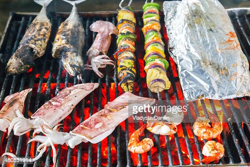 Barbecue Grill - sea food BBQ : Stock Photo