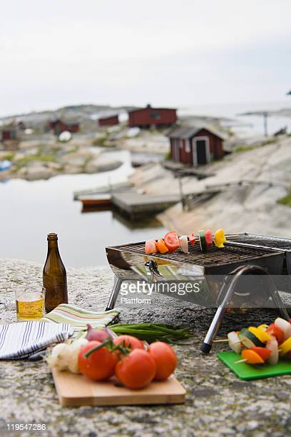 Barbecue grill with vegetables on rock