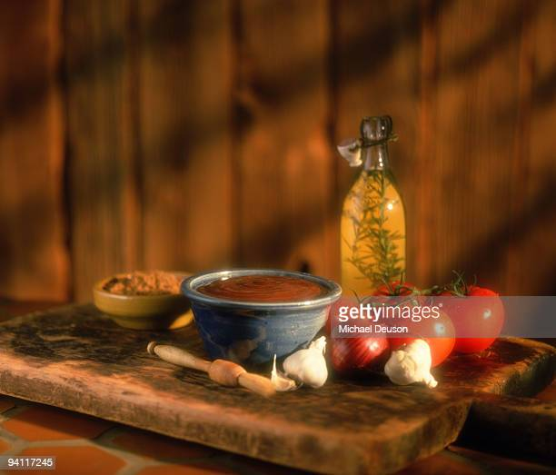 Barbecue ingredients on wood board