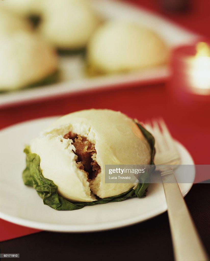 Barbecue Pork Bun or Char Su Bao : Stock Photo