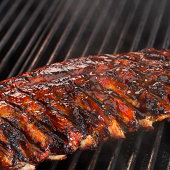 Barbecue ribs on grill