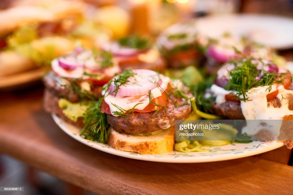 Barbecue sandwiches : Stock Photo