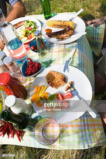 Barbecued food on a table