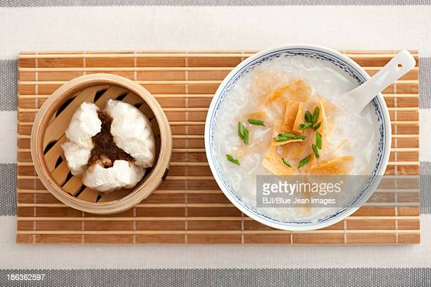 Barbecued pork bun and porridge, traditional Chinese breakfast