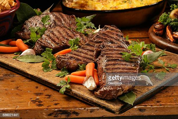Barbecued steak and carrots