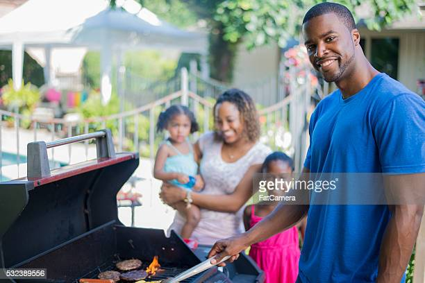 Barbecuing Together on Father's Day