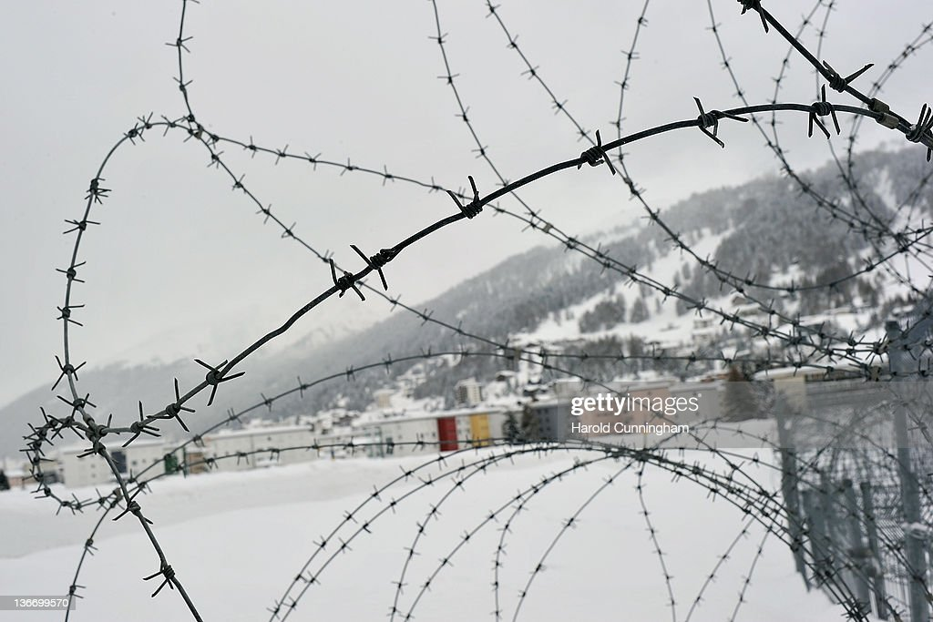 Barbed wire are installed at the village entrance on January 10, 2012 in Davos, Switzerland. The World Economic Forum, which gathers world top leaders will take place from January 25, 2012 to the 29th.