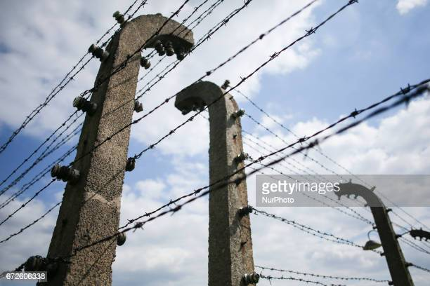 A barbed wire fence at the former NaziGerman Auschwitz Birkenau concentration and extermination camp at Oswiecim Poland on April 24 2017