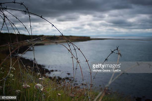 Barbed Wire Fence On Hill By Sea Against Cloudy Sky
