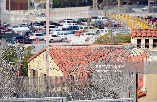 MACOR 'EEUUMIGRACIÓNSEGURIDADHISPANOS' Barbed wire lines the top of the border fence at the San Ysidro port of entry along the USMexico border near...