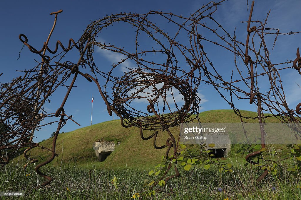 Barbed wire stands at the ruins of Fort Troyon, one of the many forts used by the French to defend the region around Verdun during World War I, on May 28, 2016 near Verdun, France. The governments of France and Germany will commemorate the 100th anniversary of the World War I Battle of Verdun with ceremonies tomorrow. Approximately 300,000 soldiers lost their lives in the 10-month campaign that was among the most grueling battles of World War I.