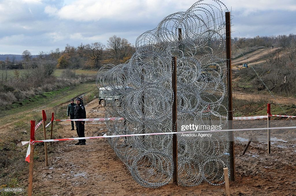 Barbed wire to be fenced through 33km route in Golyam Dervent village in Derventski heights at South-East Bulgaria on Bulgaria - Turkey border is presented on November 28, 2013 in Yambol, Bulgaria. Totally 630km barbed wire will be used for 3 meters height wire fence in the region where the surveillance cameras and radar systems are inadequate to control of refugee movement.