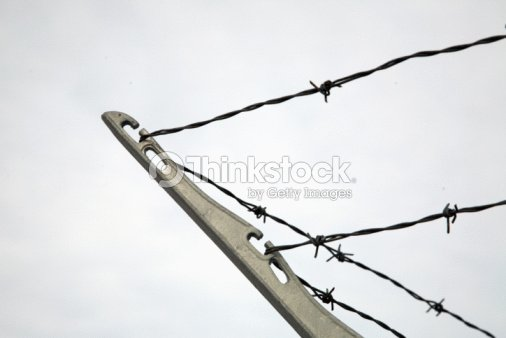 Barbed Wire With Corner Bracket On Fence Stock Photo | Thinkstock
