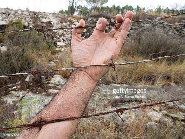 Barbed wire with one hand caught