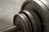 Barbell, close-up of weights, elevated view