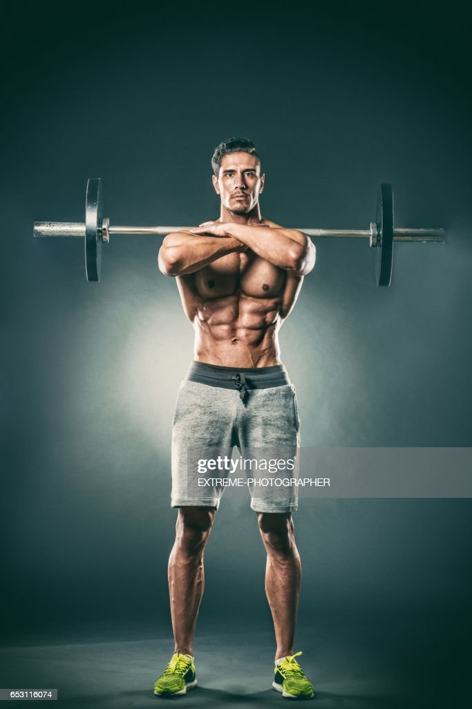 Barbell front squats upper position : Stock Photo