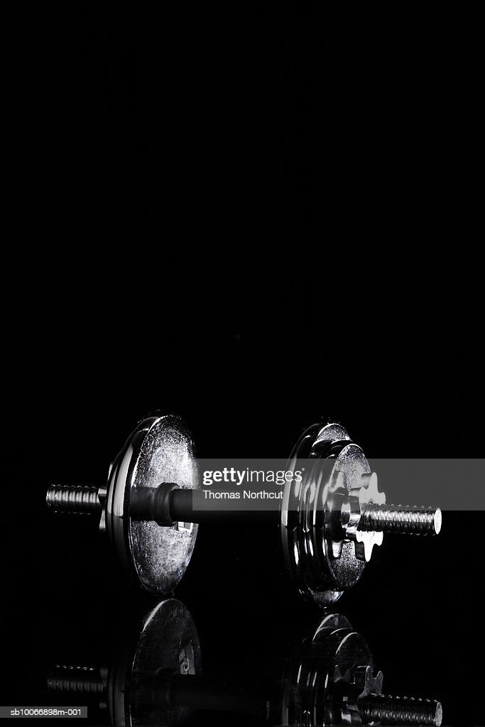 Barbell on black background : Stock Photo