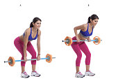 Step by step instructions: Hold a barbell at arm's length and lower your torso until it's almost parallel to the floor. (A) Your knees should be bent and your lower back arched. Squeeze your shoulder