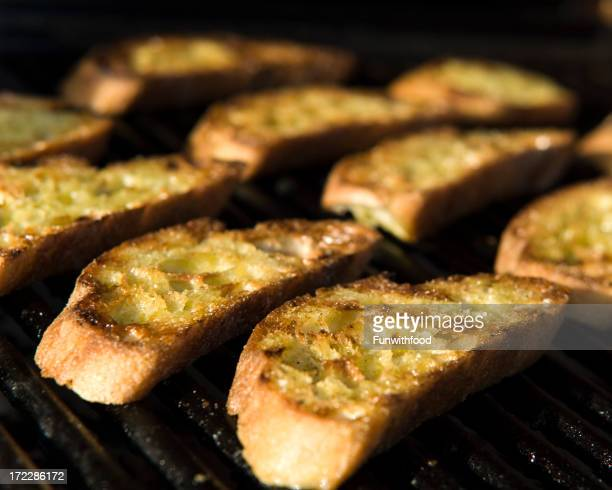 Barbeque Bread Summer Crostini on Grill, Garlic Infused Toast Grilling