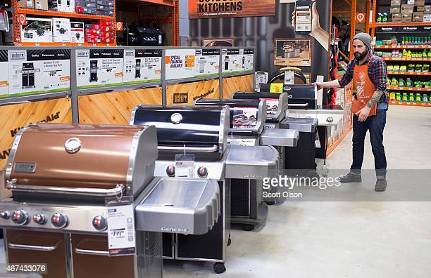 Barbeque grills are offered for sale at a Home Depot store on March 24 2015 in Chicago Illinois The Labor Department reported the consumerprice index...